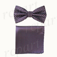 New Men's micro fiber Pre-tied Bow tie & hankie purple black checkers formal