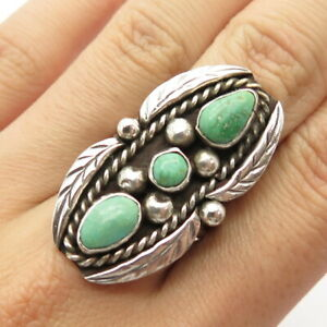 Harrison Yazzie Navajo Old Pawn Sterling Silver Royston Turquoise Ring Size 8