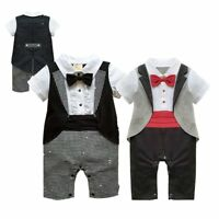 Baby Boy Wedding Christening Tuxedo Waistcoat Suit Romper Outfit Clothes Dress