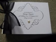 Personalised Condolence Bereavement Funeral memorial guest book with box black