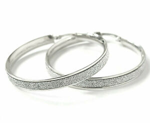 Ladies 9ct Gold Hoop Earrings Glitter effect White Hallmarked Snap Close 30mm