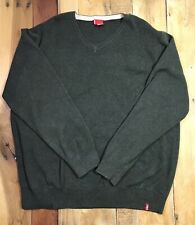 Levis V-Neck Olive Green Sweater Mens XXL 2xl Long Sleeve Cotton