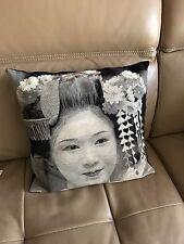 Filled Cushion Japanese Geisha Face Tapestry  45x45cm