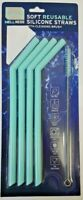 WELLNESS Soft Reusable Silicone Straws with Cleaning Brush - choose colour
