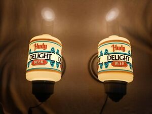 Pair of Rare Vintage Hudy Delight Beer 1979 Wall Sconce Lamp Light Man Cave