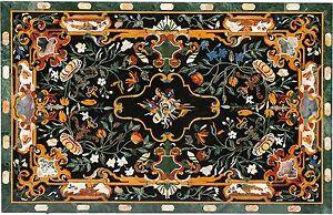 "48"" x 36"" Black Marble Coffee Table Top Pietra Dura Inlay Work"