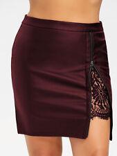 Plus Size XL-5XL Sexy Women Skirt Dress Lace Insert PU Leather Skirt