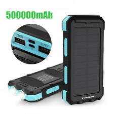 500000mAh Solar Power Bank 2USB External Battery Backup Charger for Cell Phone