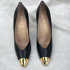 New BRUNO MAGLI Made In Italy Bologna Black Leather Pumps Heels Shoes 7.5 AA