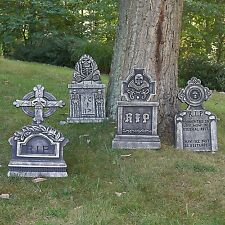 "Pack of 4 Halloween Décor 22"" RIP Graveyard Foam Tombstone Halloween Decorations"