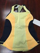 Brand New Lululemon Cardio Kick Tank Yellow Black Size 6 Yoga Jog Run Bike Dance