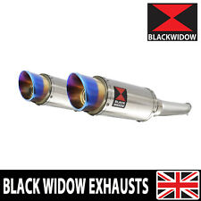 VTR 1000 F Superhawk Twin Silencer Kit : Round Stainless Blue Tip SL20R