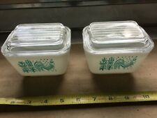 2 Vintage Pyrex Small Refrigerator Dishes Amish Butterprint Rooster 501 w/Lids