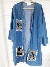 Prina Woman Ethnic / African Denim Duster Jacket One Size Plus