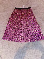Helene Berman London Pink & Yellow Leopard Print Pleated Midi Skirt Size 16