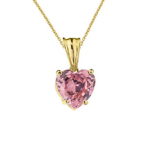 2 CTW Heart Shaped Pink CZ Pendant Necklace in 10K Solid Gold