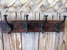 New Rustic Reclaimed Wood Brown Coat Rack 4 Iron Hooks Cabin Wall Mount Lodge