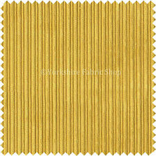 Thin Stripe Line Soft Velvet Cord Fabric Upholstery Sofa Curtain Material Yellow