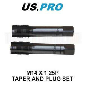 US PRO Tools M14 X 1.25P Taper & Plug Set ( Tap & Die ) 2641