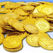 100pcs Plastic Pirate Gold Color Play Toy Coins Birthday Party Favors Fas.AU~