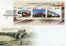 Estonia 2012 FDC Railway Bridges JIS 3v M/S Cover Trains Architecture Stamps