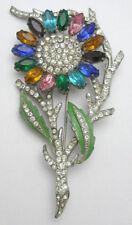 5.70ct Rose Cut Diamond Mixed Gemstone'S Enamel Victorian Silver Brooch Pin