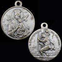 Saint Cristophore Vintage Medal St Christopher Christophe Lady of Perpetual Help