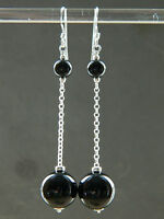 Black Onyx Smooth Round Gem Stones & 925 Sterling Silver Long Drop Earrings