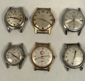 Lot of 6 Gruen Wristwatches Parts or Repair Automatic Bumper Manual Wind