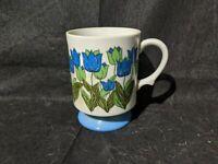 RARE Vtg Retro White Blue Green Flower Mug Cup Coffee Tea 70s 80s Floral Handle