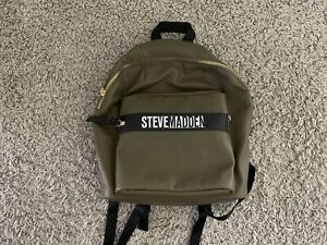 Steve Madden, Faux Leather Backpack in Olive Green