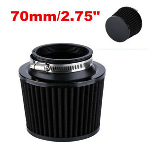 Black Universal 2.75'' 70mm Air Intake Cone Filter &Adapter For Car/Truck/SUV