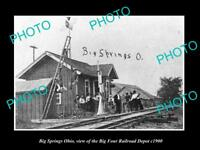 OLD LARGE HISTORIC PHOTO OF BIG SPRINGS OHIO, THE BIG FOUR RAILROAD DEPOT c1900