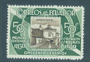 Ecuador 1930, 50c museum, trial color, NO punch hole, WATERLOW SPECIMEN, #312