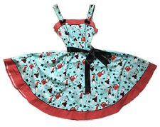 HELL BUNNY XL Dixie Pin Up Blue Red Stretch Cotton 50s Rockabilly Prom Dress
