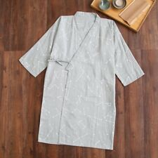 Chinese Japanese Mens Grey Constellation Lines Kimono Dressing Gown Robe mrobe15
