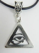 Eye of Horus/Providence Pewter Pendant on Leather Necklace. Egypt Illuminati