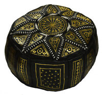 Pouf Moroccan Hassock Pooff Leather Pouff Ottoman Footstool Medium Black