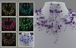 BLUE, YELLOW, PINK, PURPLE, GREEN OR BROWN  FAUX PEARL FLOATING NECKLACE SET