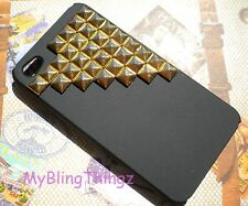For iPhone 5 - Black Studded Hard Back Case Cover with Brass Metal Pyramid Studs