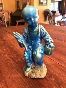 """Antique Prewar Japanese Blue Glazed 6.5"""" Boy Ceramic Statue in Classic Dress"""