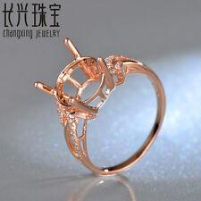 11mm Round Cut 14kt Rose Gold 0.12ct Diamond Engagement Semi Mount Ring Setting