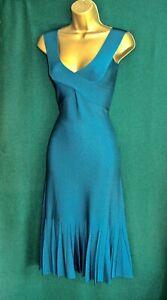 New NEXT 12 14 Teal Green BANDAGE Stretch BodyCon Below-Knee Midi Cocktail Dress