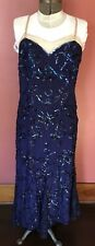 Rare Bergdorf Goodman Couture 2 Piece Navy Lace Sequin Flapper Dress! 20's 30's