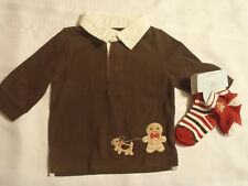 Gymboree 3-6 Month Gingerbread Boy Brown Long Sleeve Polo Shirt Top Socks NWT