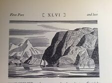 1930s Art Deco Woodcut print by Rockwell Kent: Ocean, Mountains, Icebergs, boat