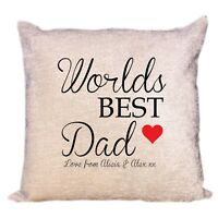 Worlds Best Dad Luxury Personalised Cream Chenille Cushion Cover Birthday Gift