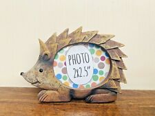 "Mini Hedgehog Resin Photo Frame, Fits 2x2.5"" Picture, Small Woodland Themed Gift"