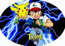 plaque de porte ovale rigide pokemon personnalisée prénom chambre réf 189