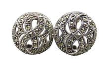 Judith Jack Sterling Silver Clip Earrings Marcasite Designer Jewelry 98g